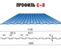 Профнастил оцинкованный с8 (гофра 8)